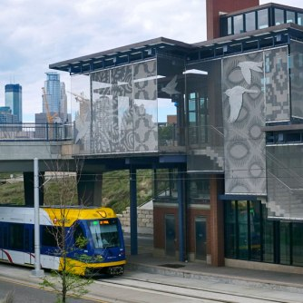 The Mississippi River West Bank Green Line station features patterns from Somali and Vietnamese immigrant communities
