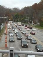 Typical morning congestion coming down the hill on Cedar Road