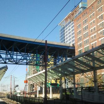 "Flats East Bank station with the historic ""Main Street Bridge,"" now used by the Shoreway"