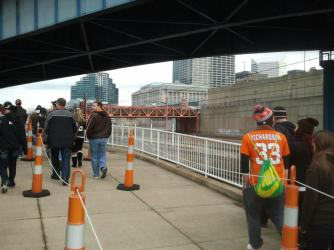 Browns fans walking from the Rapid to the Stadium