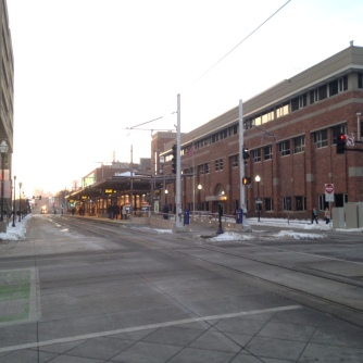 Bike box and LRT train mall at UMN