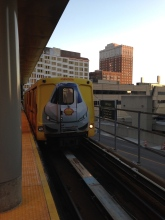 Getting on the People Mover at the Rosa Parks Transit Center