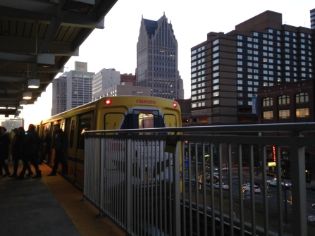 Getting off the People Mover at the Ren Cen