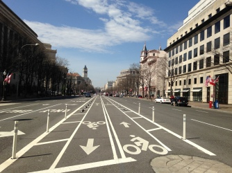 Cycle track in Pennsylvania Avenue