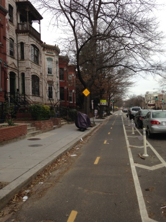 Cycle Track on 15th Street in Logan Circle area