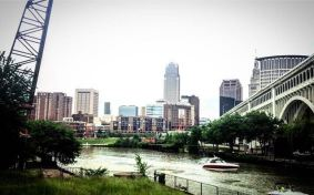 View of Downtown CLE and the Cuyahoga River from the Flats West Bank