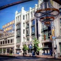 "Playhouse Square placemaking projects - the billboard sign and ""world's largest outdoor Chandelier"""