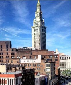 Terminal Tower rising above Euclid Avenue buildings